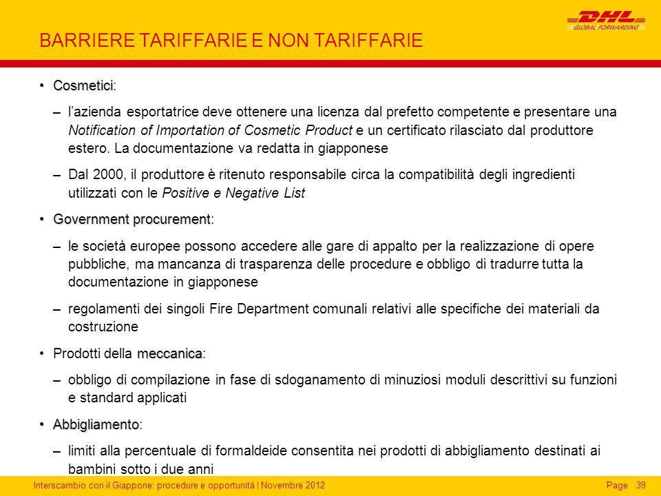 BARRIERE TARIFFARIE E NON TARIFFARIE