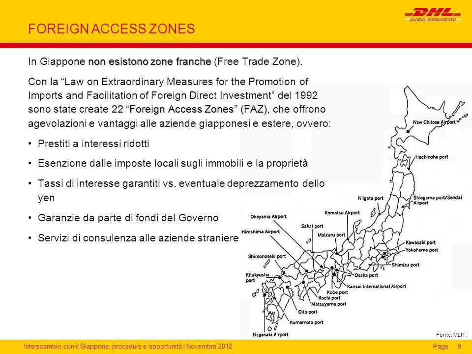 FOREIGN ACCESS ZONES In Giappone non esistono zone franche (Free Trade Zone).