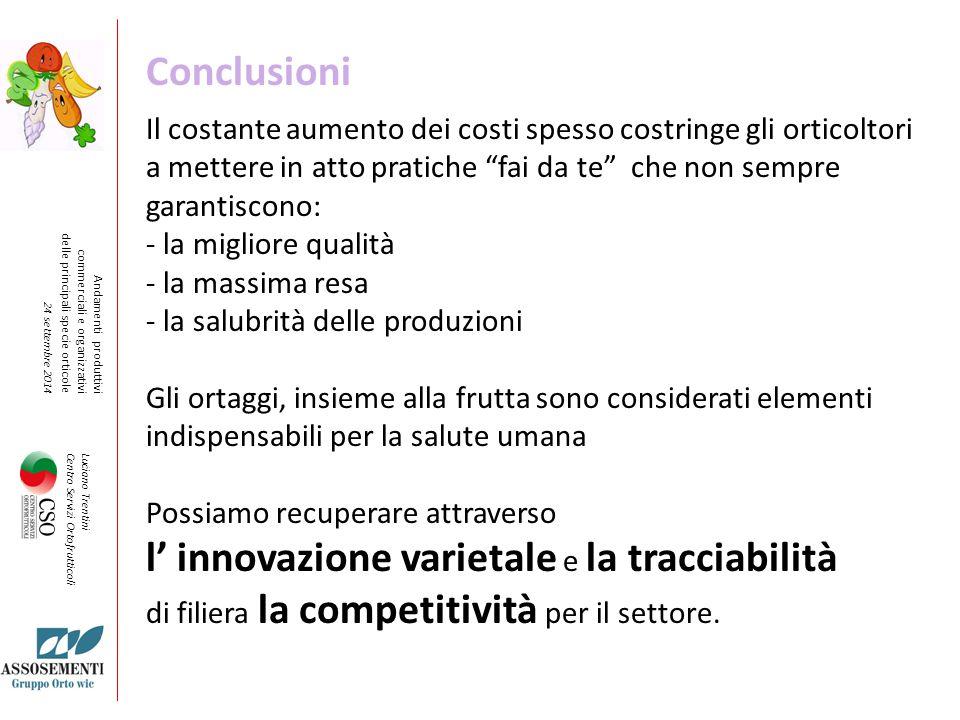l' innovazione varietale e la tracciabilità