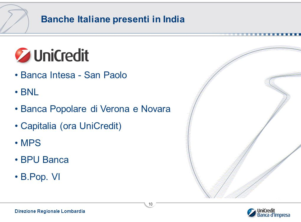 Banche Italiane presenti in India