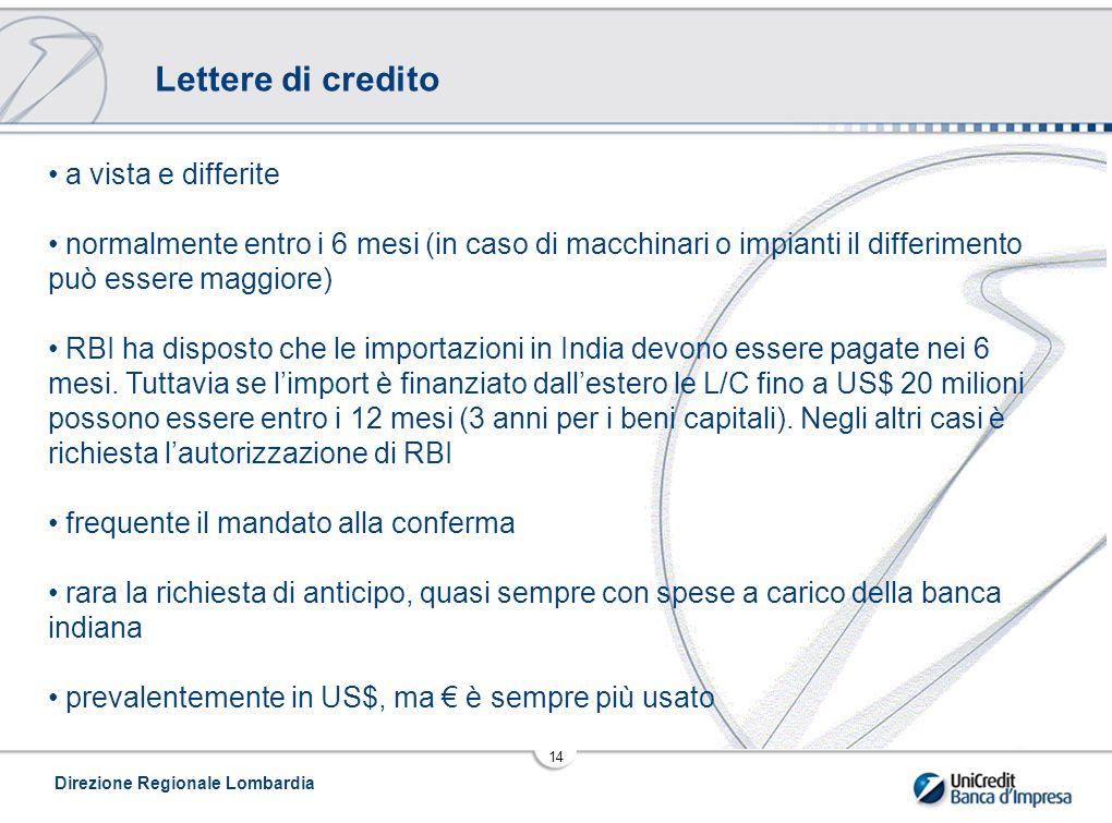Lettere di credito a vista e differite