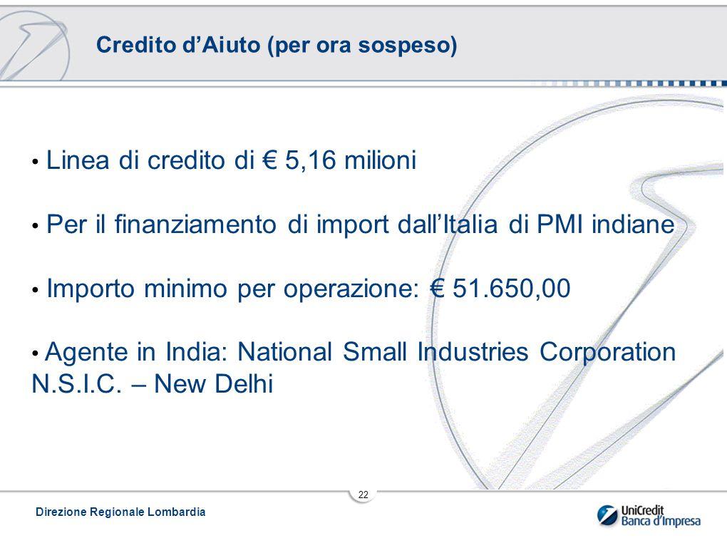 Linea di credito di € 5,16 milioni
