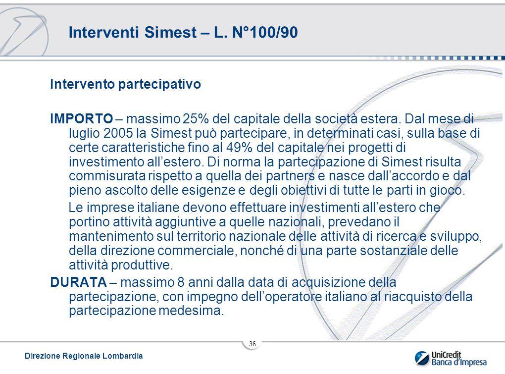 Interventi Simest – L. N°100/90