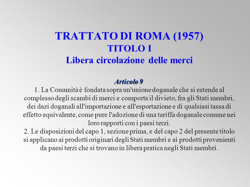 TRATTATO DI ROMA (1957) TITOLO I Libera circolazione delle merci Articolo 9 1.