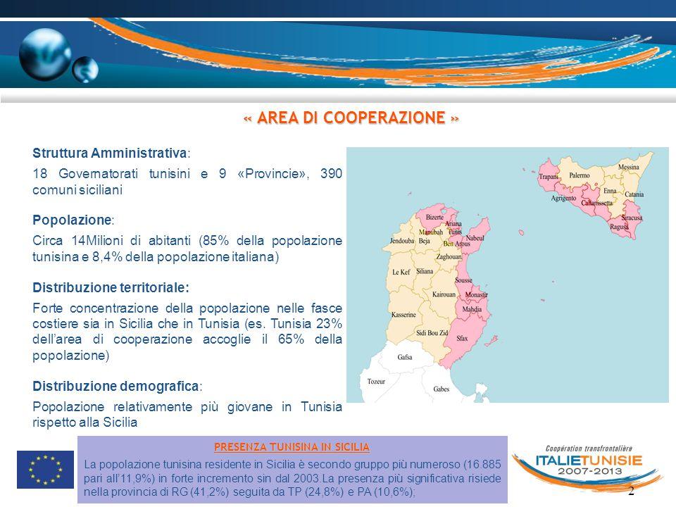 « AREA DI COOPERAZIONE » PRESENZA TUNISINA IN SICILIA