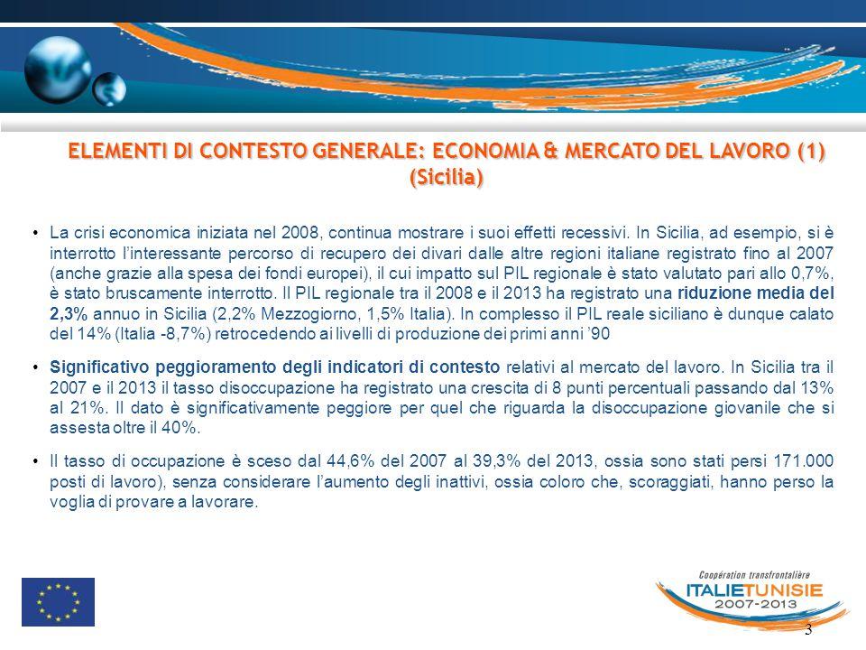 ELEMENTI DI CONTESTO GENERALE: ECONOMIA & MERCATO DEL LAVORO (1) (Sicilia)
