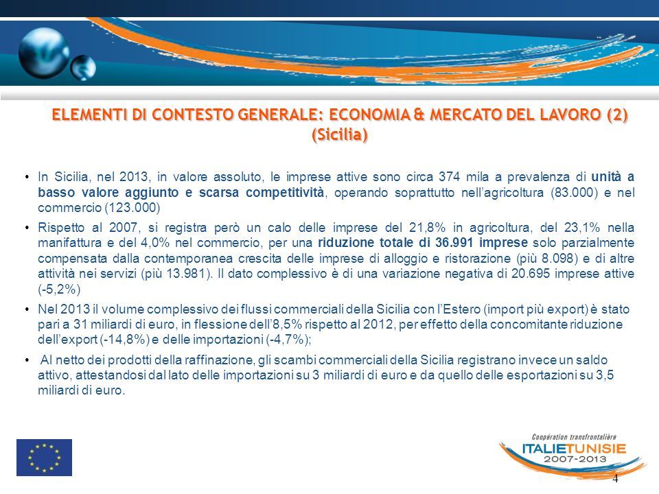 ELEMENTI DI CONTESTO GENERALE: ECONOMIA & MERCATO DEL LAVORO (2) (Sicilia)