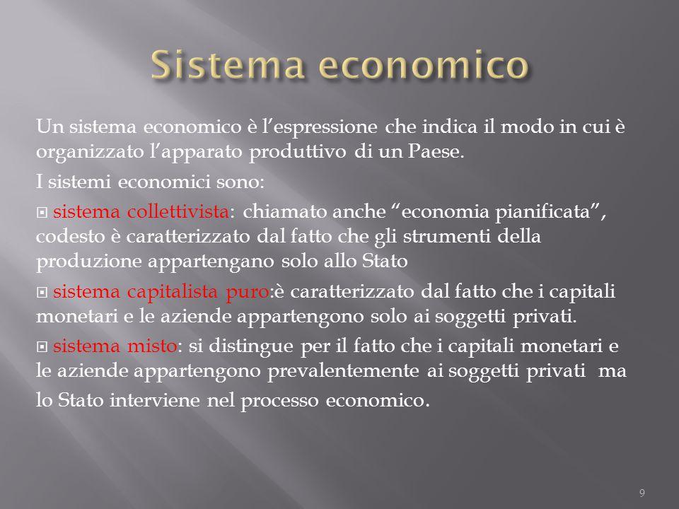 Sistema economico Un sistema economico è l'espressione che indica il modo in cui è organizzato l'apparato produttivo di un Paese.
