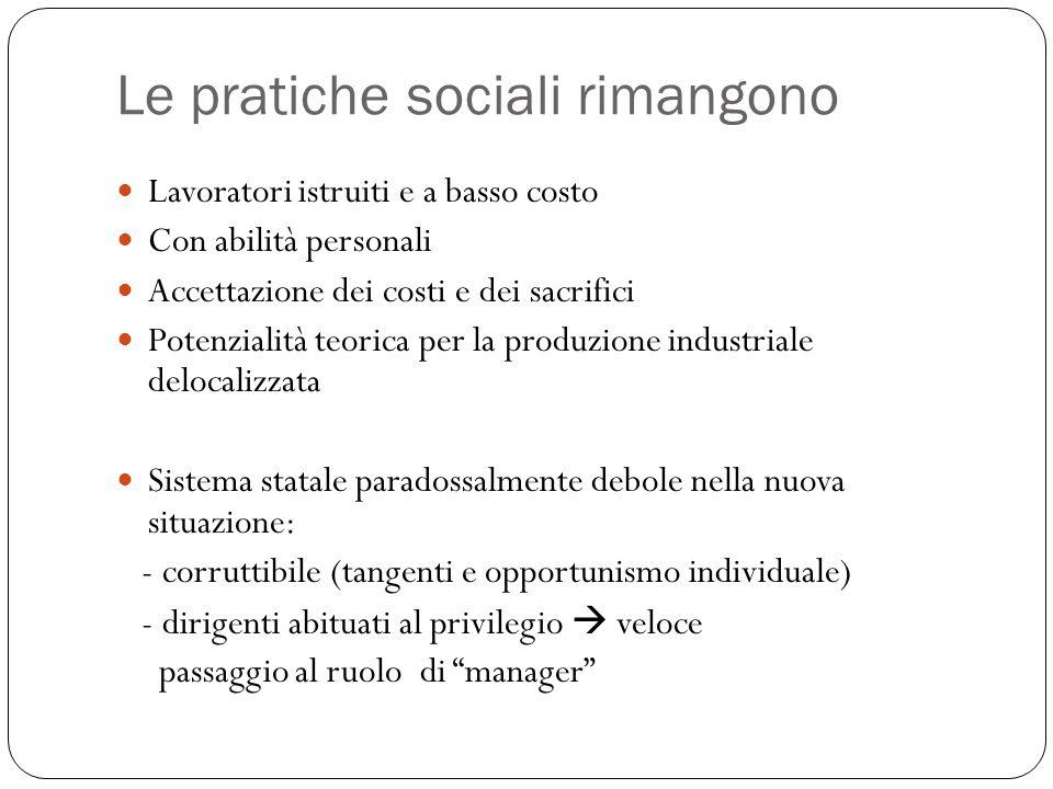 Le pratiche sociali rimangono