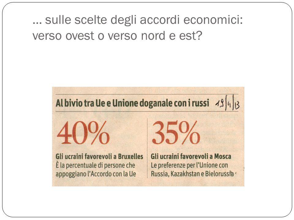 … sulle scelte degli accordi economici: verso ovest o verso nord e est