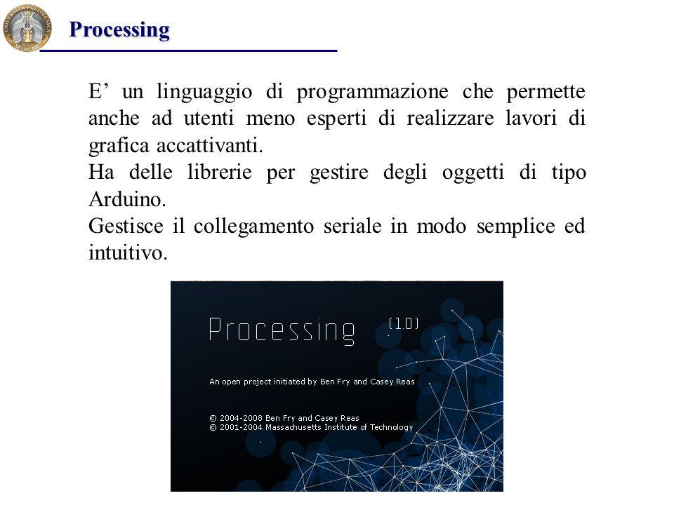 Processing E' un linguaggio di programmazione che permette anche ad utenti meno esperti di realizzare lavori di grafica accattivanti.