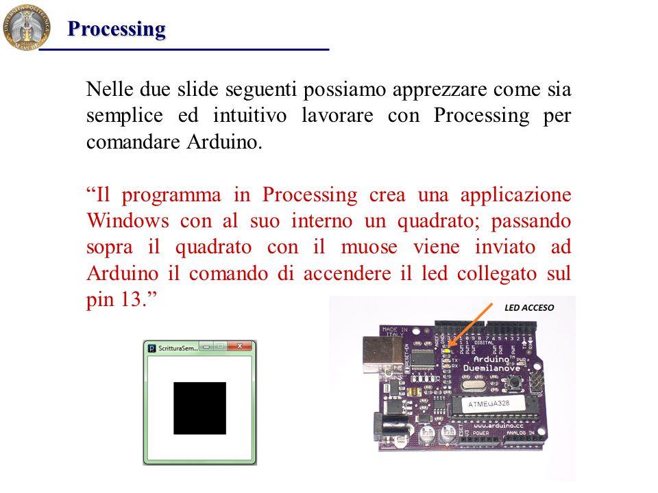 Processing Nelle due slide seguenti possiamo apprezzare come sia semplice ed intuitivo lavorare con Processing per comandare Arduino.