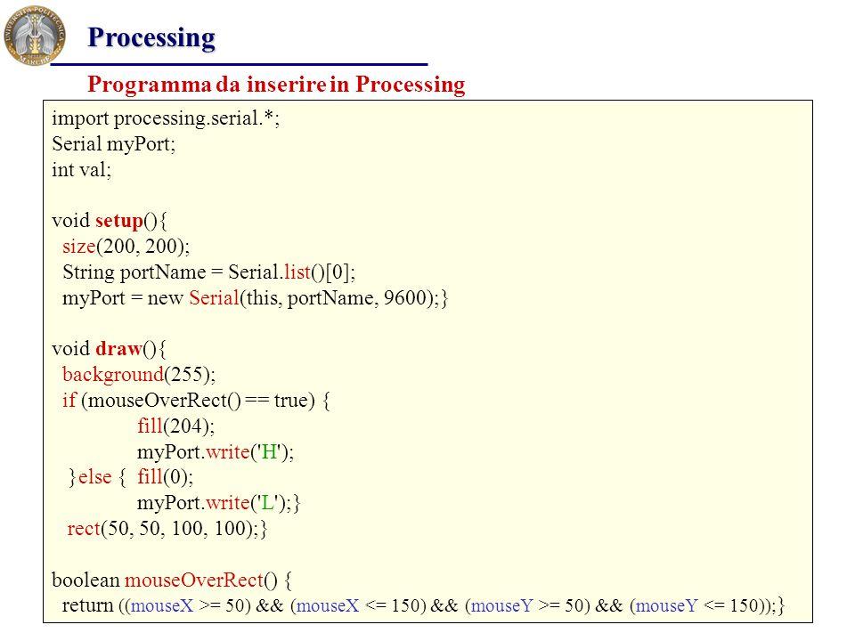 Processing Programma da inserire in Processing