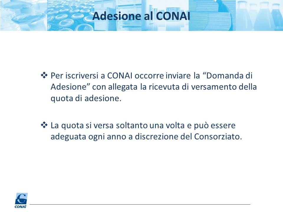 Adesione al CONAI Per iscriversi a CONAI occorre inviare la Domanda di Adesione con allegata la ricevuta di versamento della quota di adesione.