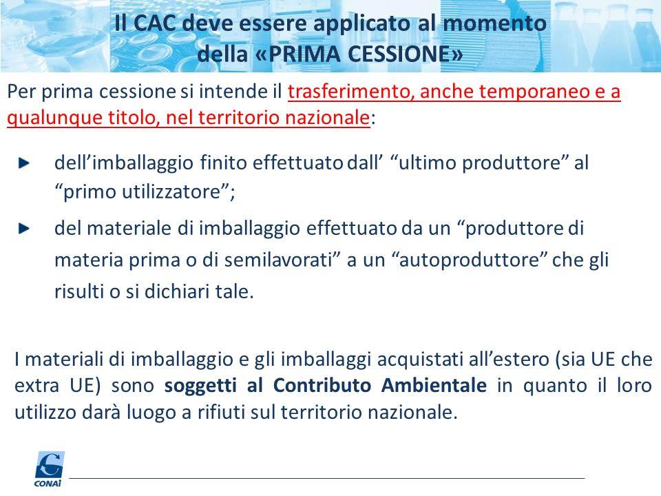 Il CAC deve essere applicato al momento della «PRIMA CESSIONE»