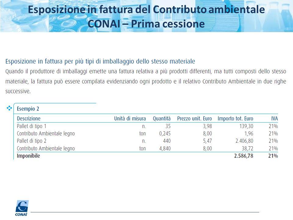 Esposizione in fattura del Contributo ambientale CONAI – Prima cessione