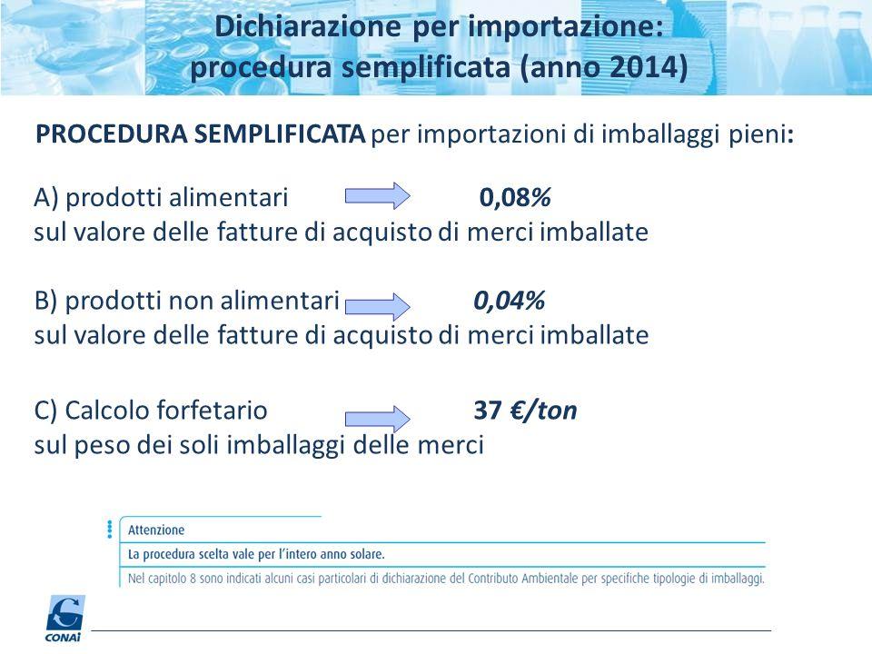 Dichiarazione per importazione: procedura semplificata (anno 2014)