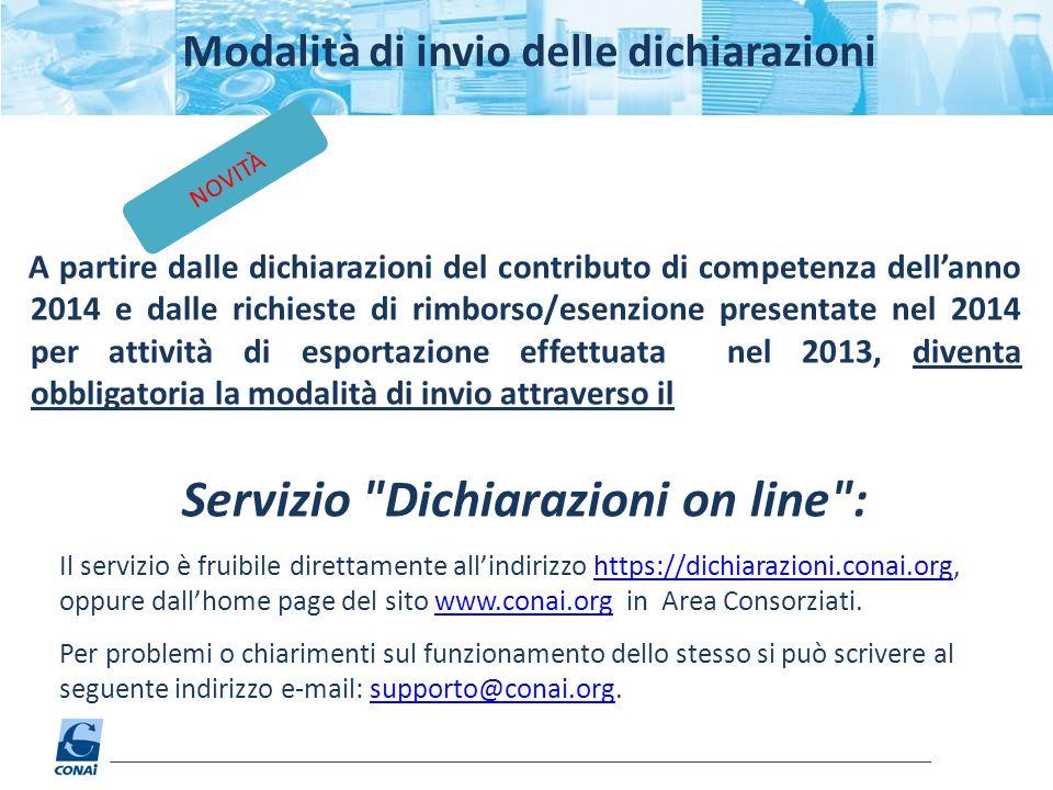 Servizio Dichiarazioni on line :