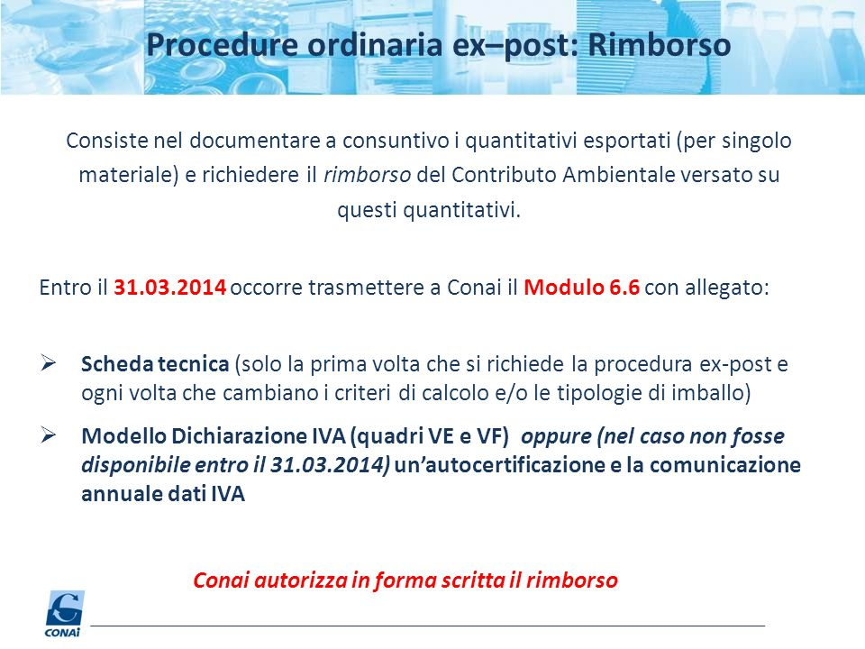 Procedure ordinaria ex–post: Rimborso