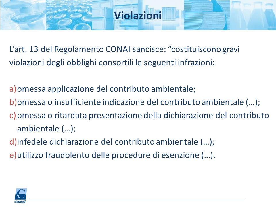 Violazioni L'art. 13 del Regolamento CONAI sancisce: costituiscono gravi violazioni degli obblighi consortili le seguenti infrazioni: