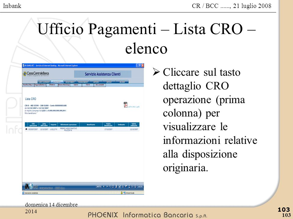 Ufficio Pagamenti – Lista CRO – elenco