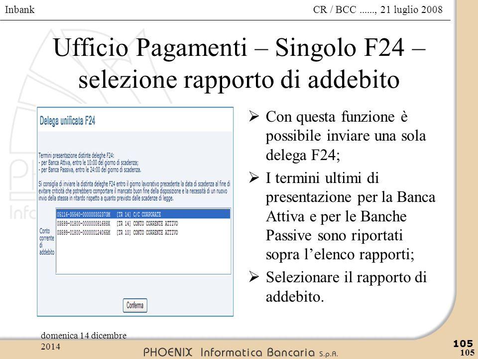 Ufficio Pagamenti – Singolo F24 – selezione rapporto di addebito