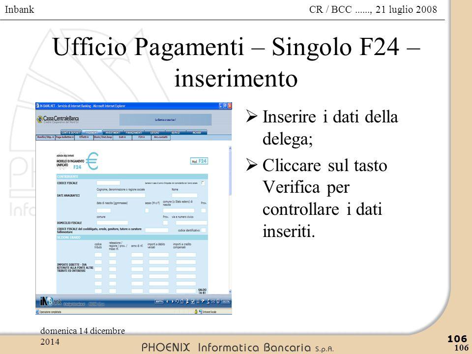 Ufficio Pagamenti – Singolo F24 – inserimento