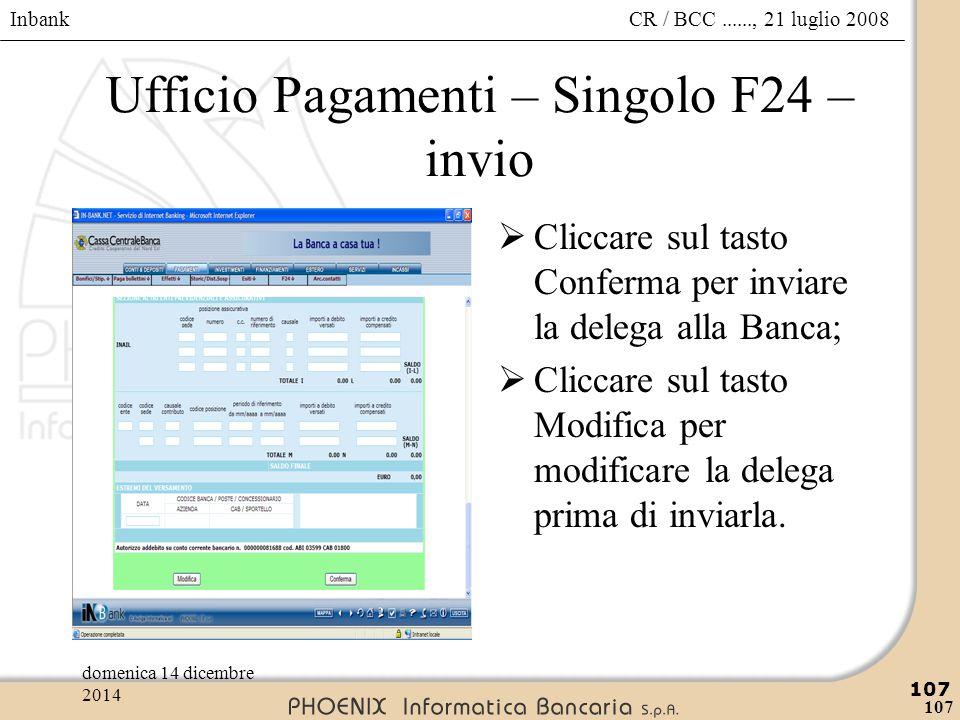 Ufficio Pagamenti – Singolo F24 – invio