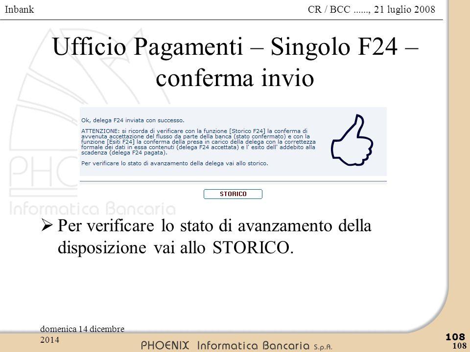 Ufficio Pagamenti – Singolo F24 – conferma invio