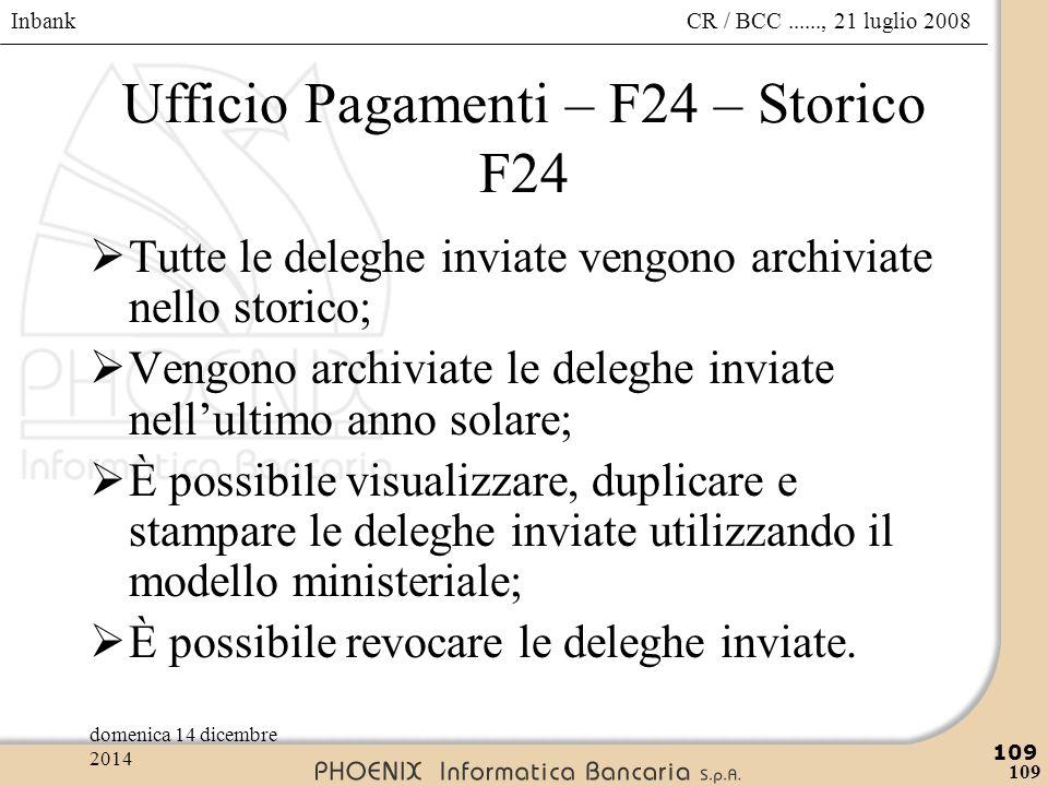 Ufficio Pagamenti – F24 – Storico F24