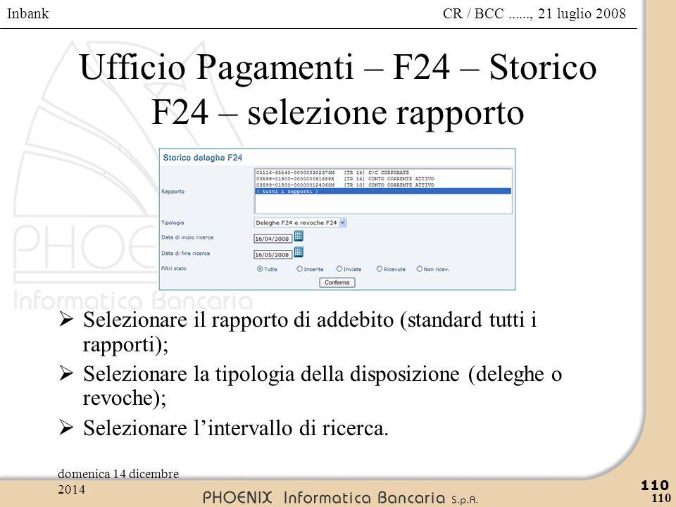 Ufficio Pagamenti – F24 – Storico F24 – selezione rapporto