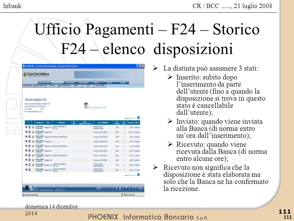 Ufficio Pagamenti – F24 – Storico F24 – elenco disposizioni