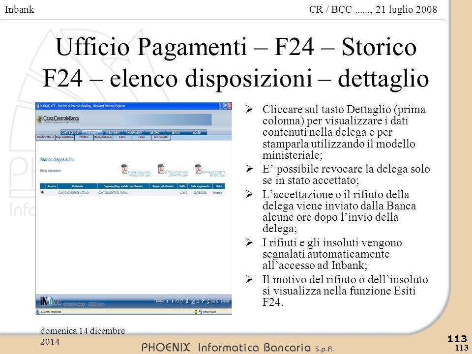Ufficio Pagamenti – F24 – Storico F24 – elenco disposizioni – dettaglio