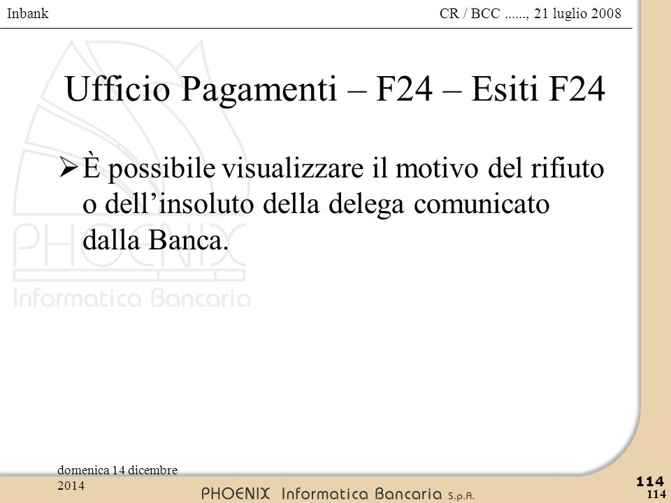 Ufficio Pagamenti – F24 – Esiti F24