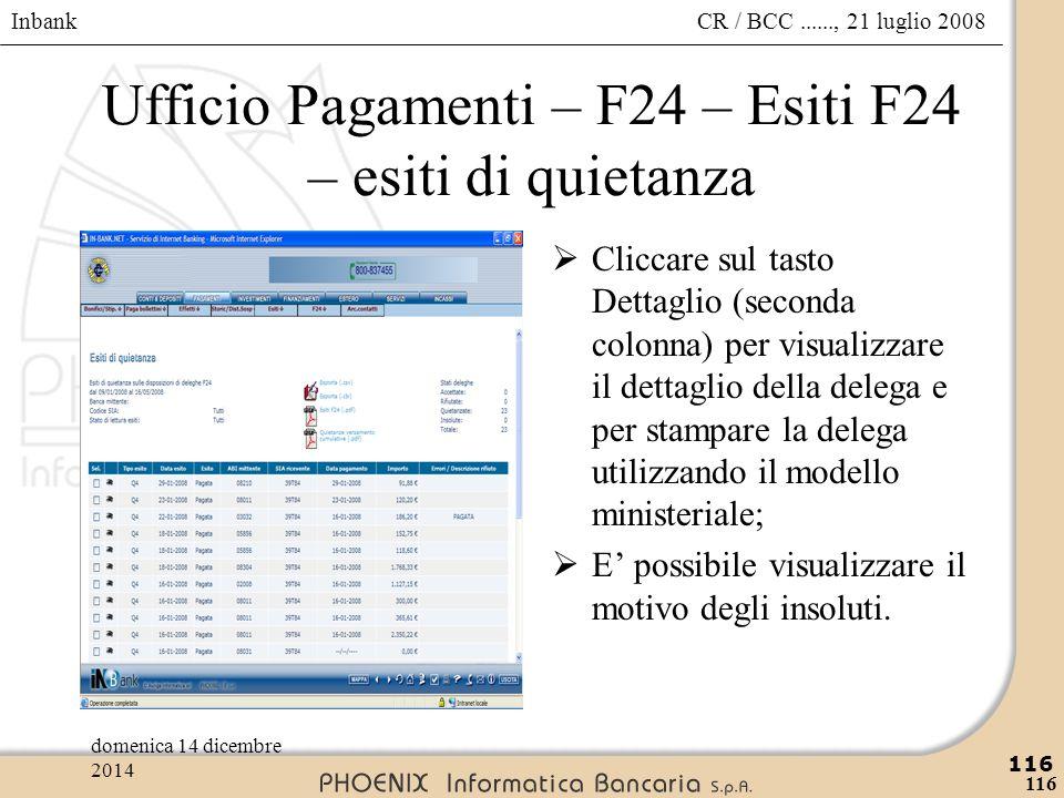Ufficio Pagamenti – F24 – Esiti F24 – esiti di quietanza