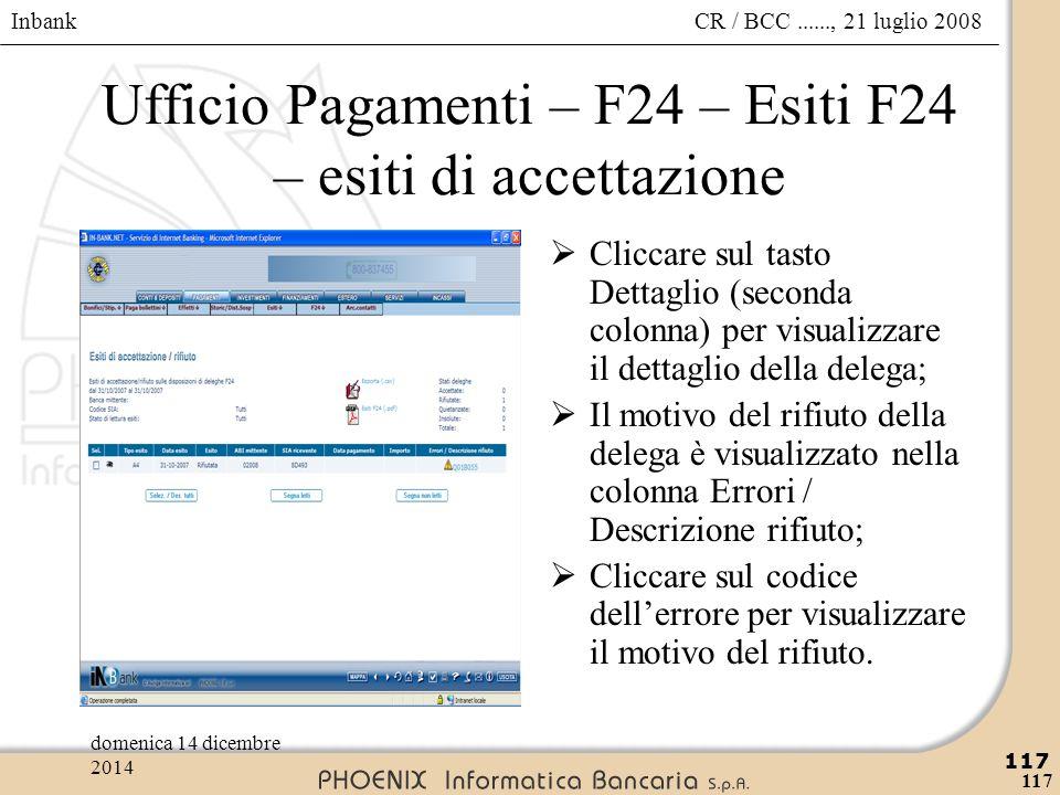 Ufficio Pagamenti – F24 – Esiti F24 – esiti di accettazione