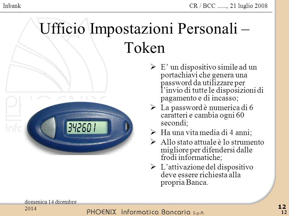 Ufficio Impostazioni Personali – Token