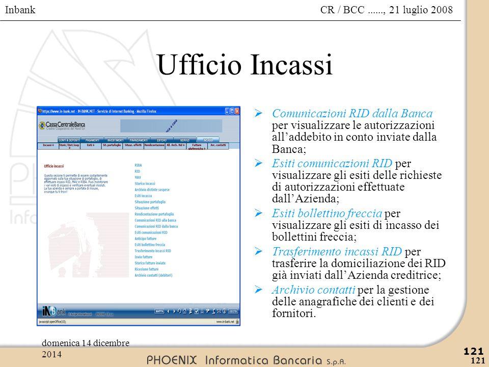 Ufficio Incassi Comunicazioni RID dalla Banca per visualizzare le autorizzazioni all'addebito in conto inviate dalla Banca;