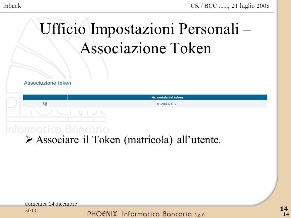 Ufficio Impostazioni Personali – Associazione Token