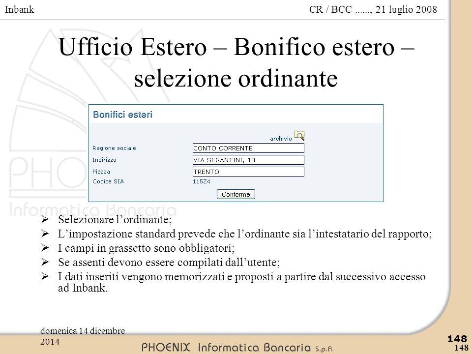 Ufficio Estero – Bonifico estero – selezione ordinante