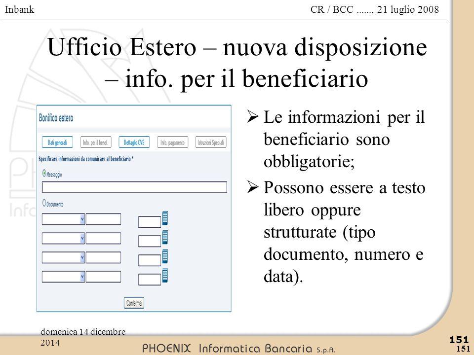 Ufficio Estero – nuova disposizione – info. per il beneficiario