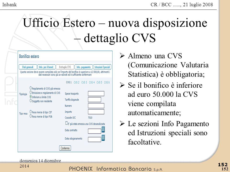 Ufficio Estero – nuova disposizione – dettaglio CVS