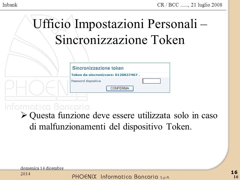 Ufficio Impostazioni Personali – Sincronizzazione Token