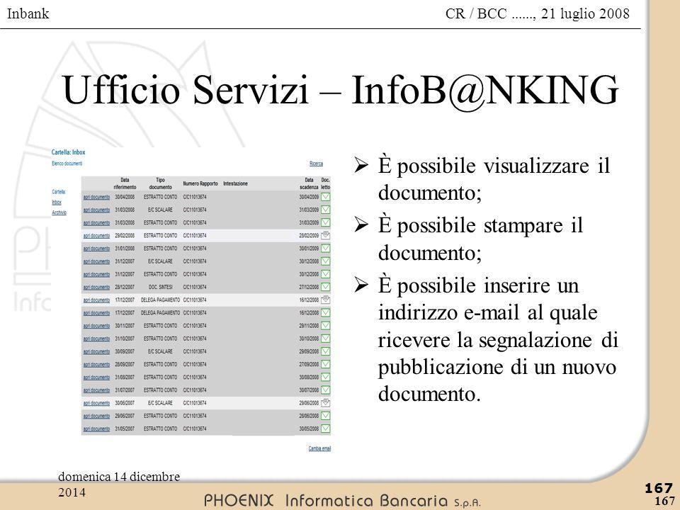 Ufficio Servizi – InfoB@NKING