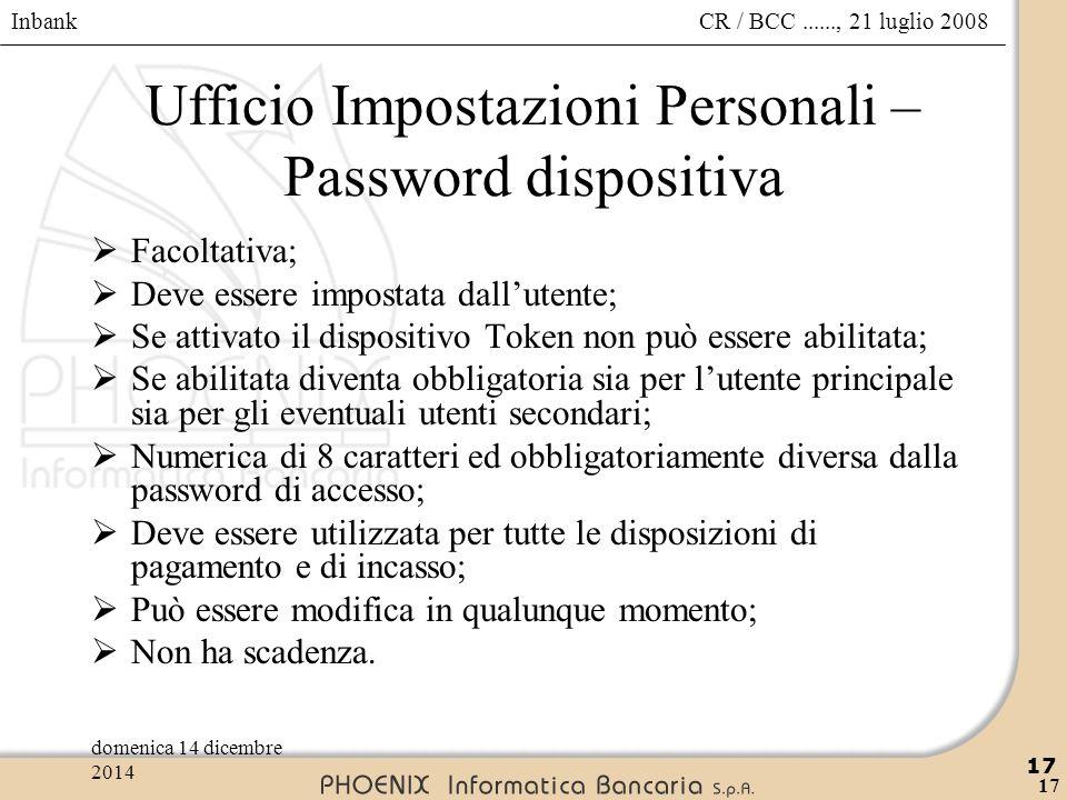 Ufficio Impostazioni Personali – Password dispositiva