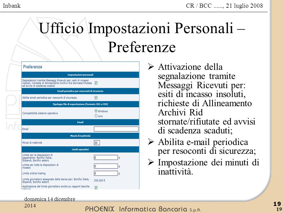 Ufficio Impostazioni Personali – Preferenze