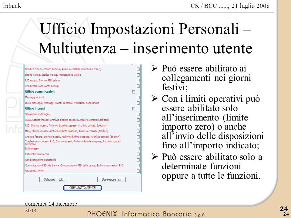 Ufficio Impostazioni Personali – Multiutenza – inserimento utente