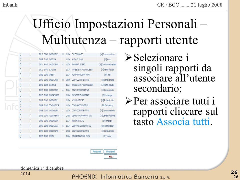 Ufficio Impostazioni Personali – Multiutenza – rapporti utente