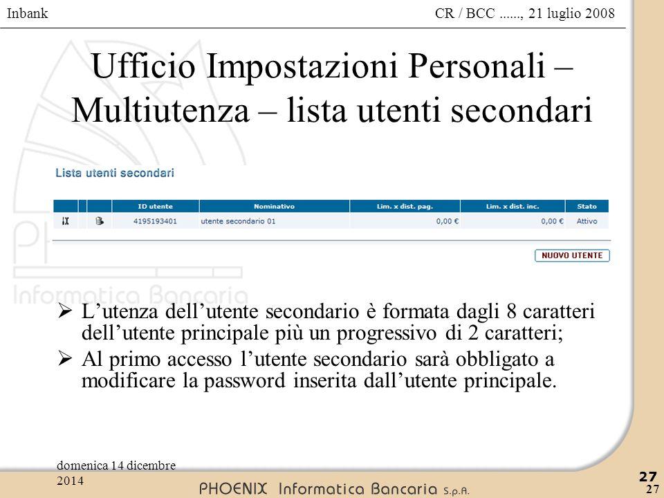 Ufficio Impostazioni Personali – Multiutenza – lista utenti secondari