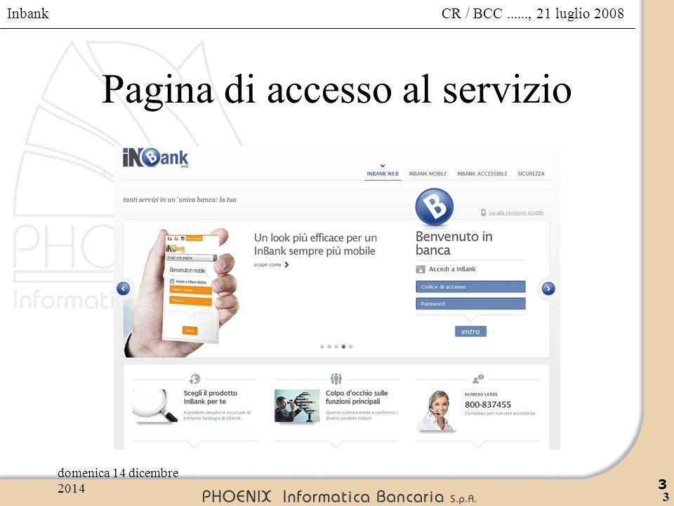 Pagina di accesso al servizio